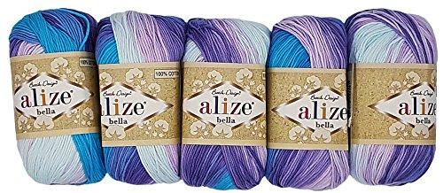 Alize Bella 5 x 50 Gramm Baumwolle Mehrfarbig mit Farbverlauf, 250 Gramm Wolle aus 100% Baumwolle, Strickwolle (Flieder rosa türkis weiß 3677)