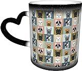 Bulldog francese Ritratti Modello Cane Sensibile al calore Cambia colore Tazza nel cielo Tazze da caffè Tazza in ceramica Regali personalizzati per gli amanti d