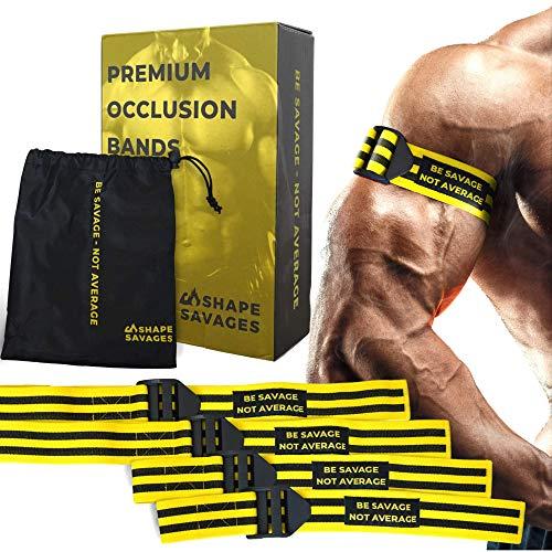 Shape Savages Blood Flow Restriction Bands - Okklusionsbänder 4er Pack - 2 Bizeps- und 2 Beinbänder - Perfekt für Muskelwachstum und Trainingsbänder für das Fitnessstudio - Starke Workout-Bänder