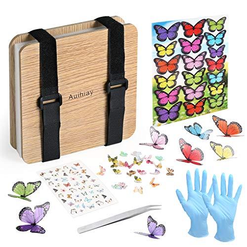 Auihiay Set de prensa de flores, 6 x 6 pulgadas hoja prensa artesanía con accesorios de mariposa y guantes para diy flores prensadas secas hojas artesanías de resina