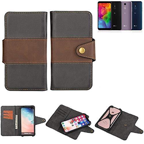K-S-Trade® Handy-Hülle Schutz-Hülle Bookstyle Wallet-Case Für -LG Electronics Q7 Alfa- Bumper R&umschutz Schwarz-braun 1x