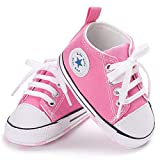 ENERCAKE Baby Boys Girls Shoes Toddler High-Top Ankle Canvas Infant Sneakers Soft Sole Newborn First Walkers Crib Shoes(12-18 Months Toddler, A-Pink)
