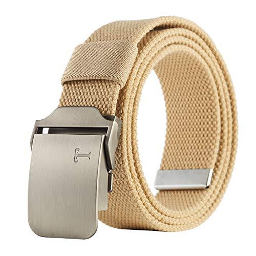 "Tonywell Mens Military Belt 1 1/2"" Thick Canvas Belt Web Belt with Tictical duty Metal Buckle Khaki Belt 35"" to 38"" Waist Adjustable"