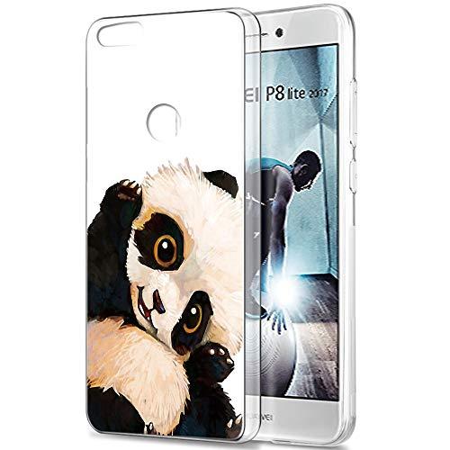 Pnakqil Huawei P8 Lite 2017 Cover Trasparente, Premium Custodia Silicone con Disegni Leggero Ultra Sottile TPU Morbido Antiurto 3d Pattern Bumper Case per Huawei P8 Lite 2017, Panda