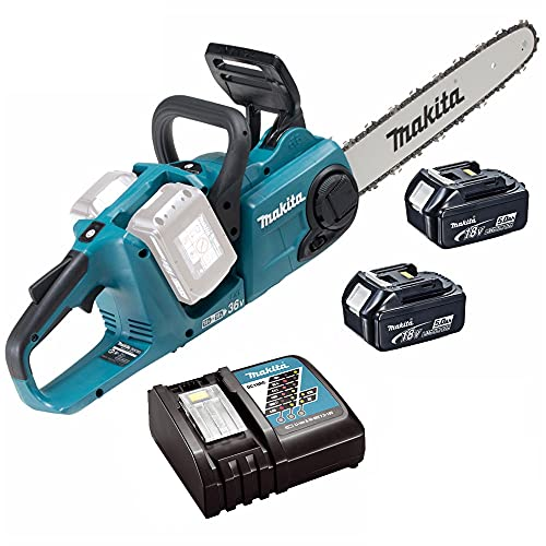 Makita DUC353 LXT Brushless Cordless Chainsaw with 2 x 4Ah BL1840 Batteries, 36V/18V, 350mm