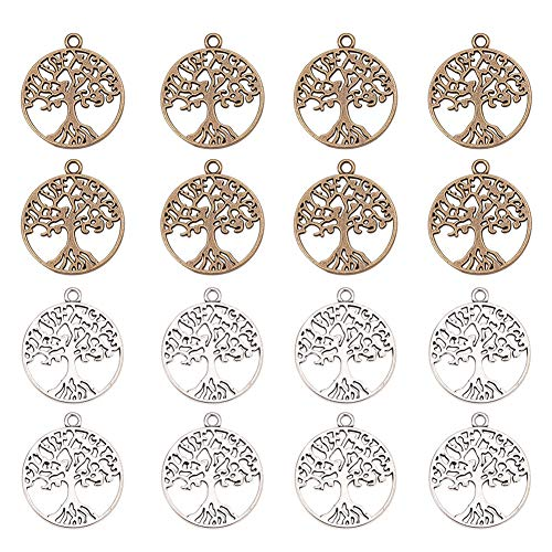 PandaHall Elite 60 Pcs Tibetan Style Alloy Tree of Life Charms Pendants Jewelry Findings for Making Bracelet and Necklace Mixed Color