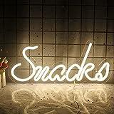 Snacks Luces de Neón Para Dormitorio Letreros de Neón LED Blancos 16'' x 7'' Letreros de luz de...
