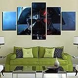 NC56 Arte de Pared Decoraciones para el hogar 5 Piezas Darth Vader Mascarilla Star Wars Destroyer Lienzo Carteles Marco Decoración de Pared Imágenes Pintura 150x80cm Marco