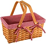 Yesland Picnic Basket, Natural Woven Basket with Double Folding Handles, Woodchip Basket & Organizer Blanket Storage for Egg Gathering, Wedding, Candy Gift & Toy (13 × 8 × 6-1/4 Inches)