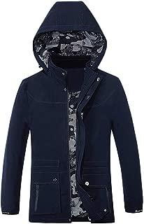 IZHH Trench Coat Men Parkas Jacket Windbreaker Solid Hoodie Puffer Coat Overcoat