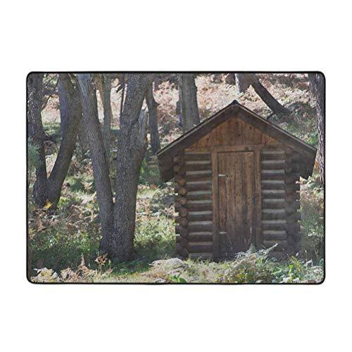 Outhouse Collection - Alfombra de madera, diseño de granero, diseño de hojas de bosque de primavera y leñador, 6,5 x 9 pies