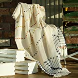 Amélie Home Boho Knitted Throw Blankets-Tassel Striped Decorative Throw-Farmhouse Textured Cozy Soft Blanket for Couch and Bed,Beige,50' x 60'