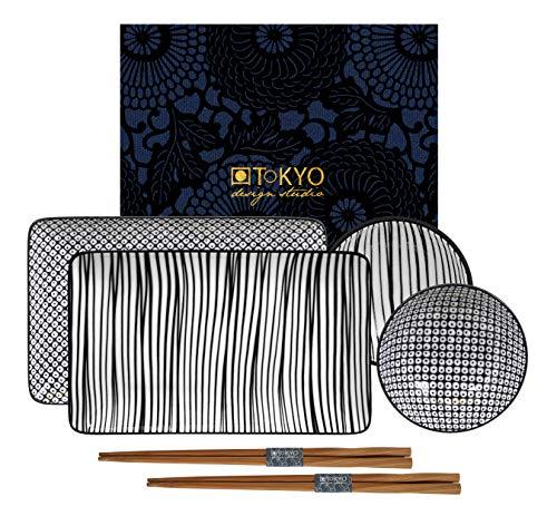 TOKYO design studio Nippon Black Sushi-Set Bianco-Nero, 6 Pezzi, 2X Piatti Sushi, 2X Ciotole per Salsa, 2X Bacchette, Porcellana Asiatica, Design Giapponese, Confezione Regalo Inclusa.