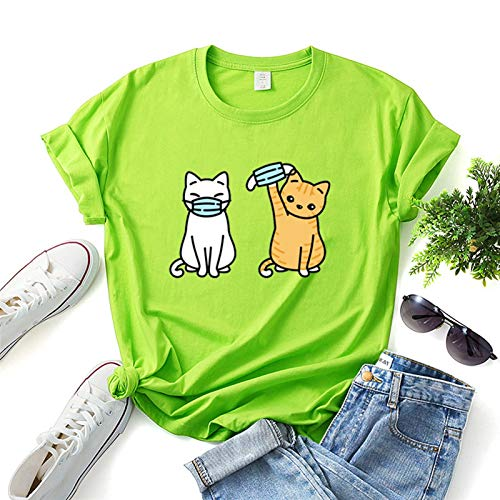 LXHcool 2020 Coron_avirus I Surviving T-Shirt Cov_id 19 Funny Cat Wearing a mask T-Shirt (Color : Green, Size : Small)