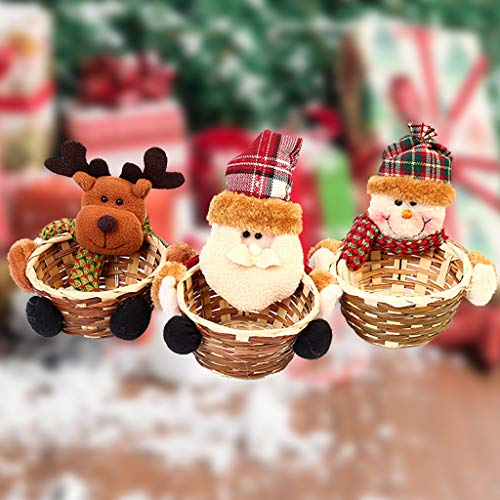 vijTIAN Christmas Candy Basket Storage Bowl Small Size Santa Claus Snowman Deer Design Candy Desert Bamboo Storage Jar Holders Ornaments Gifts Decorations Home Festival Xmas Decor