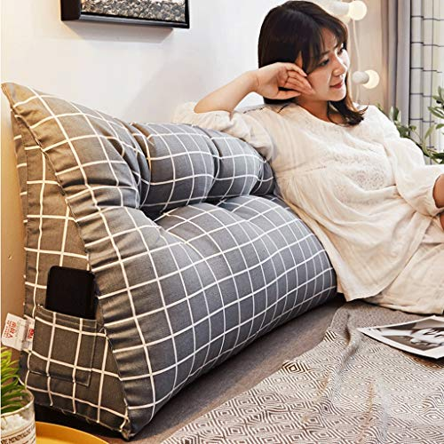 YXYH Soft Bed Wedge Pillow Sofa Triangular Bedside Back Cushions Headboard Pads Large Soft Reading Backrest With Washable Cover 100-200cm Lumbar pad (Color : A, Size : 180cm)