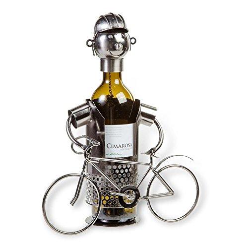 Flaschenhalter Metall - Fahrradfahrer - Größe 19x19cm - Dekorativer Flaschenhalter für den passenden Anlass