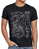 style3 64 bit Gamepad Cianotipo Camiseta para Hombre T-Shirt, Talla:S, Color:Negro