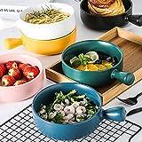 Vajilla de sopa de cerámica, tazón de ensalada de frutas de postre de arroz, con asa, tazón de moda creativa para niños de familia