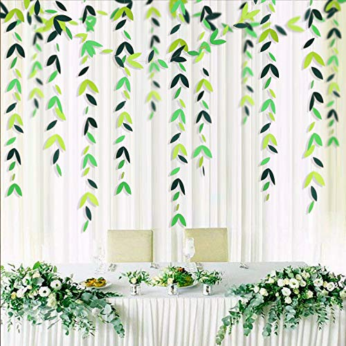 52 Fts Spring Theme Green Leaf Garland Theme Party Decoration Kit de papel Hanging Leaves Streamer para cumpleaños, fiesta de boda