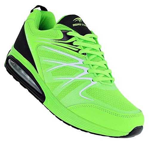 Bootsland Neon Herren Turnschuhe Sneaker Sportschuhe Freizeitschuhe 067, Schuhgröße:42, Farbe:Grün
