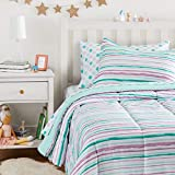 Amazon Basics Easy Care Super Soft Microfiber Kid's Bed-in-a-Bag Bedding Set - Twin, Purple Squiggly Stripe