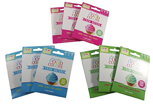 Color Kitchen Vibrant Food Colors from Nature Variety Pack of 3 Colors (3 Packets of Each Color) (Pink, Blue, and Green)