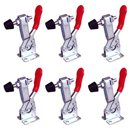 MINGZE Morsetti verticali, impugnatura rossa antiscivolo utensile a mano con pinza a morsetto Holding Capacity antislip Quick Release Heavy Duty toggle morsetto strumento (Set di 6 pz GH-201-B 100kg)