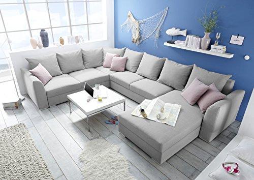 moebel-guenstig24.de Couch Lilly Sofa Eckcouch Ecksofa Schlafsofa Wohnlandschaft Polsterecke U-Form 361cm hellgrau