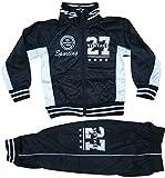 Generic Kinder Jungen Mädchen Trainingsanzug Sportanzug Jogginganzug Schulanzug Freizeitanzug Hausanzug Jogging Hose Jacke Sporthose Vintage27 (Schwarz, 98/104)