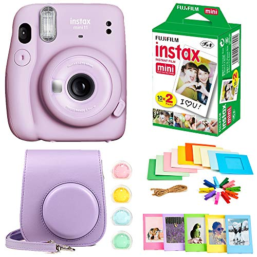 Fujifilm Instax Mini 11 Instant Camera + Instax Mini Twin Pack Film + Hanging Frames + Plastic Frames + Case + Close Up Filters - All Inclusive Bundle! (Lilac Purple)