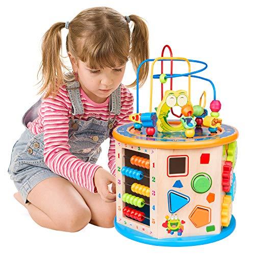 WloveTravel Cube d'activité en Bois 8 en 1 Activité Cube Labyrinthe en Bois Jouet Éducatif à usages Multiples pour Enfants Tout-Petits Bébé, Idéal pour Âge 3 4 5 6 7+ Enfant