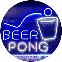 Beer Pong Bar Game Pub Dual Color LED看板 ネオンプレート サイン 標識 白色 + 青色 300 x 210mm st6s32-i3495-wb