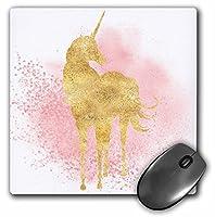 3droseマウスパッドのイメージBlushピンクSparkle紙吹雪ゴールドユニコーン、8x 8(MP 274289_ 1)