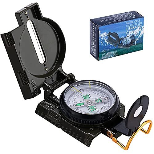 Aaskuu Kompass Outdoor Navigation, Professioneller Taschenkompass Militär Marschkompass mit Schwimmend 360° Skala, Befestigungs-Öse, Visierdraht/-Spalt, Peilkompass für Camping Jagd Wandern
