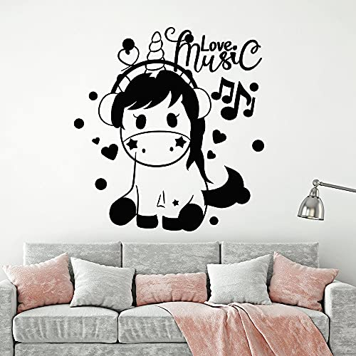 N\A Calcomanías de Caballos y música Bonitas, póster Mural de Vinilo extraíble, Sala de Estar, Dormitorio, Papel Tapiz Art Deco