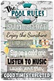 Dyenamic Art Pool Metal Sign - Pool Rules Sign - Patio and Pool Decor - Swimming Pool Party Decorations - Indoor/Outdoor Funny Pool Metal Sign - Metal Custom Signs - 8-inch x 12-inch