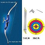DrakSun Arco y Flecha Set para niños Tiro con Arco de Juguete Set con Target Practice Competición Longbow Niños Juguetes Deportivos Interior Exterior-B Azul