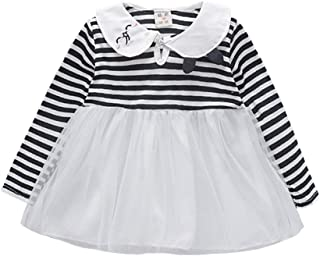 Xifamniy Infant Girl Long Sleeve Skirt Cute Embroidery Striped Tops Stitching Mesh Dress Black