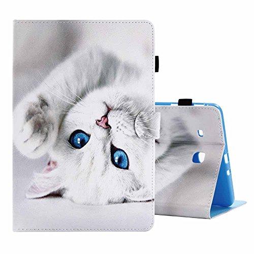 """Billionn - Custodia per Galaxy Tab E 9.6, ultra sottile e leggera, in pelle PU, con funzione di supporto, per Samsung Galaxy Tab E 9.6"""" T560/T561/T565, motivo: gatto bianco"""