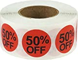 50% Off Stickers, Sale Tags, 0.75-Inch Price Tags, 500 Adhesive Labels