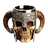 LUOEM Cráneo de Halloween Taza de Beber Taza de café Resina de Acero Inoxidable 3D cráneo Copa...