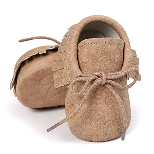 Baby Loafers Boys Girls Infant Shoes Soft Sole Tassels Moccasins Anti-Slip Crib Shoes(0-6 Months M US Infant,A-Khaki)
