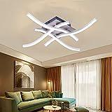 tiemore plafoniera lampadario moderno bagno luci soffitto 28w efficienza energetica 4 wave design luce led fitting light per cucina soggiorno camera da letto illuminazione decor (28w-bianco)