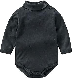 Baby Boy Girl Black Long Sleeve Shirt Bodysuit Turtleneck Romper Winter Clothes Toddler Fall Pajama Layer Top