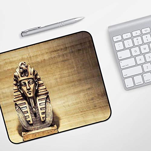 Gaming Mousepad Mauspad,Ägyptische Stein Pharao Tutanchamun Maske Skulptur Papyrus Hintergrunddesign, braun und hellbraun,Komfort Mousepad - verbessert Präzision und Geschwindigkeit