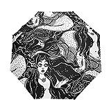 SUHETI Paraguas automático de Apertura/Cierre,Femenina Sirena Niña Cuento De Hadas Lindo,Paraguas pequeño Plegable a Prueba de Viento, Impermeable