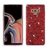 Cover per Samsung Galaxy Note 9 Custodia con Glitter Bling Scintillante Brillantini [Tre Strati] per Donna [Supporta la Ricarica Wireless] per Samsung Galaxy Note 9 (Rosso)