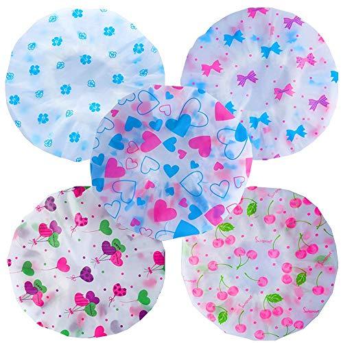 5X Duschhaube, Bad Duschhauben, Molylove wiederverwendbare wasserdichte elastische Blume gedruckt Duschhaube Badekappe für Frauen und Mädchen und Kinder