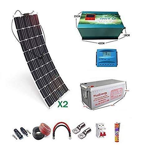 wccsolar Kit 12V Panel Solar Flexible 300W Inversor 2000w con Cargador 35A Kit para Autocaravana caravanas y Barcos